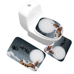 Série de banheiro on-line-Honlaker Série de Natal de Alta Qualidade Tapete De Banho 3 pçs / set Grosso Flanela Absorvente Não-slip Banheiro Tapete e Toalete cobrir