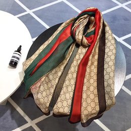 Wholesale spring women scarves - Brand Scarf For Women 2018 Spring Letter Pattern Luxury brands Designer Scarfs 100% Silk Long Scarves Size 180X90CM Top Qualtiy A-233