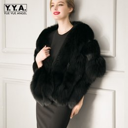 Wholesale Fox Bat - Winter Elegant Ladies Formal Court Ball Shawl Thicken Warm Faux Fur Capes Comfort Fluffy Poncho Womens Party Outerwear Vest Coat
