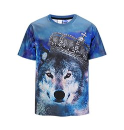 051675c09 2018 Summer Mens Fashion 3D Personality Wolf Face Printed Crewneck T-shirt  Casual Short Sleeve Tops Basic Tees S-2XL on sale