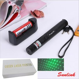 Wholesale Green Laser Flashlight Pointers - laser pointer 303 DC3.7V outdoor flashlight with rechargable 18650 battery charger and retail box 532nm green laser star pointer