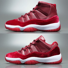 Wholesale High Top Sneakers Rhinestones - Wholesale Jumpman Cheap New Air Retro 11 Velvet Heiress Low High Top Quality Women Mens Basketball Shoes Sneakers Running Shoes