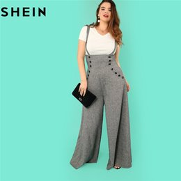 fb1974465a SHEIN Grey High Waist Wide Leg Straps Plus Size Office Lady Long Jumpsuits  2018 New Flare Hem Loose Casual Full Length Jumpsuit