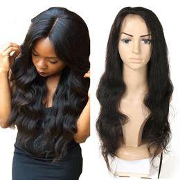 pelucas afroamericanas envío gratis Rebajas Pelucas frontales del cordón de la onda del cuerpo Pelo humano peruano de Remy para los afroamericanos el 130% de densidad 8-26 pulgadas # 1B liberan el envío