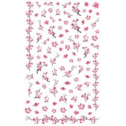 Fiori di prugna arte online-1 foglio bella rosa prugna fiore Wintersweet modello adesivo adesivi per unghie decorazioni fai da te punte saon