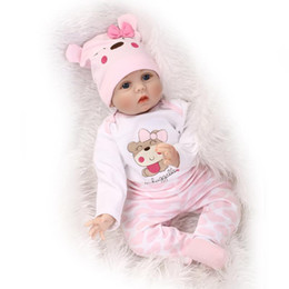 Wholesale Baby Reborn Girl - 55cm Soft Body Silicone Reborn Baby Doll Toy For Girls NewBorn Girl Baby Birthday Gift To Child Bedtime Early Education Toy