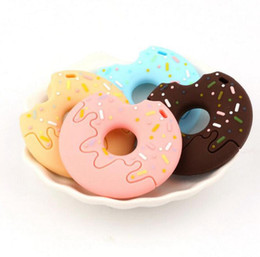 silicone pendants wholesale Promo Codes - Baby Silicone Pacifier Clip Donut Pendant Food Grade Teether Chew Toy Doughnut Teether Pendant DIY Crafts Infant Toys