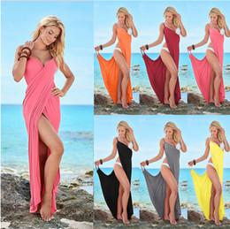 Wholesale Maxi Spandex - Women Bandage beach Boho Dress Split Deep V Neck Sleeveless dress Chiffon Long Maxi Sexy Plus Size dress 7colors FFA123