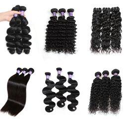 Wholesale Cheap Loose Wave Weave - Cheap Brazilian Hair Extensions Human Hair Bundles Virgin Hair Curly Body Wave Straight Loose Wave Water Wave Wholesale 3Bundles 1B Black