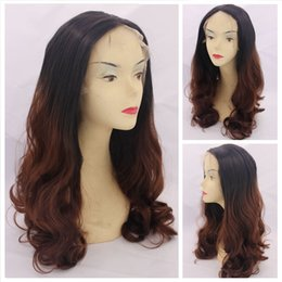 Wholesale Cheap Two Tone Blonde Hair - Synthetic Lace Front Wig Body Wave Blonde Glueless Ombre Two-Tone Heat Resistant curly wavy Hair Wigs Cheap wavy for Black Women 1B# 30#33#