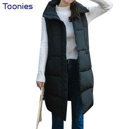 Wholesale Korean Long Vest Coat - Winter Solid Long Waistcoat Letter Print Cotton Vest Female Fashion Sleeveless Thin Jacket Coat Korean Style Women Vest