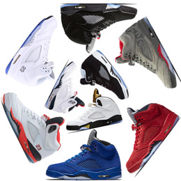 Wholesale Olympic Shoes - 2018 mens Basketball shoes 5 5s V Olympic metallic Gold White Cement Man OG Black Metallic red blue Suede Sport Sneakers size 7-13