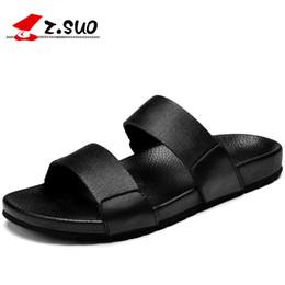 Z.suo couro genuíno homens negros chinelos sandálias de borracha de verão  sapatos de praia Flats Slides Flip Flops Moda Masculina Chinelos ZS16518  homens ... 303e81550c