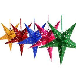 2019 decorazioni di compleanno della lanterna di carta Paper Star Lantern 3D Pentagram Paralume per Natale Xmas Party Compleanno Matrimonio Home Hanging Decorazioni QW8460 sconti decorazioni di compleanno della lanterna di carta