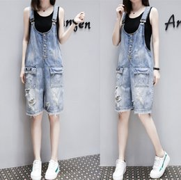 1edb9d37f9a 2018 Summer Casual Women Denim Shorts Ripped Hole Jeans Jumpsuit Romper  Loose One Piece Overall for Girls Plus Size