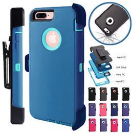 Wholesale Iphone Case Retail Packaging - For iphone X 6s 6plus 8 7 plus Samsung Galaxy Note8 S8 plus Armor Hybrid Defender Case Come with Clip Holster Retail Package