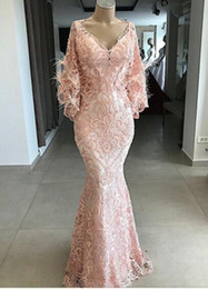 prom plus size feather dress Promo Codes - Yousef Aljasmi 2019 New Pink Feather Mermaid Evening Dresses V Neck Ful Lace Appliqued Long Sleeves Prom Gowns Formal Dress 2018