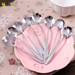 Ghiaccio senza zucchero online-Utensili da cucina per gelato in acciaio inox a forma di fiore in acciaio inox con cucchiaino da tè, cucchiaini e cucchiaini per gelato