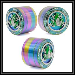 "Wholesale Frog Shapes - 2.5"" Inch Rainbow Grinder 63mm 4 Layer Parts with Spider Skull Head Frog Insect Diamond Shape Pattern Metal Grinder Tobacco Smoking Crushers"