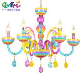 Wholesale lustre restaurant - Colorful chandelier glass crystal modern for restaurant bedroom dinning room living room children candle lamp lustre para quarto