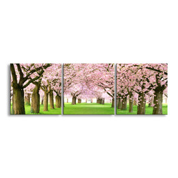 Wholesale Cherry Blossom Panel - 3 pieces high-definition print Cherry blossoms canvas oil painting poster and wall art living room picture YF3-001