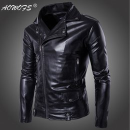 Wholesale Motorcycle Jackets Leather Classic - Wholesale- Hot sale 2017 Faux Leather jacket Men Handsome classic Motorcycle Leather Jackets coats Fashion brand clothing Big Size 5XL