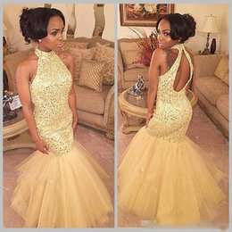Wholesale Chiffon Long Skirts For Women - 2018 Light Yellow Mermaid Prom Dresses Luxury Sequined Organza Skirts High Neck Long Formal Evening Special Occasion Gowns For African Women