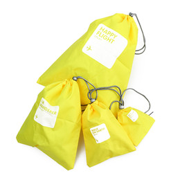 Wholesale Type Lingerie - 4Pcs Set New Waterproof Travel Camping Drawstring Packing Storage Bag Shoe Laundry Lingerie Makeup Pouch Home Clothes Organizer