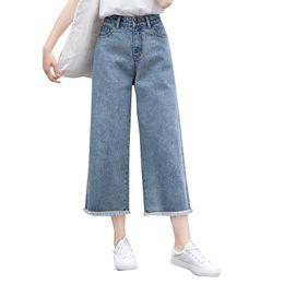 Девушка джинсы высокая талия онлайн-Fashion Women High Waist Jeans Slim Denim Casual Loose Wide Leg Pants Ankle-Length Pants Plus Size for Cool Girls