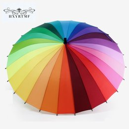 Wholesale Rainbow Pencils - Elegant Sun Umbrella Protection Sunny And Rainy 24K Fashion Biggest Long Handle Straight Colorful Rainbow Pencil Umbrellas