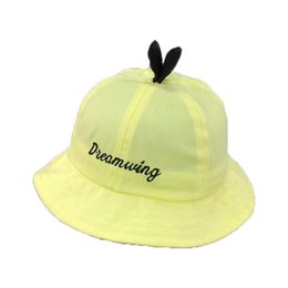 Wholesale Kid Hat Funny - Letter Embroidery Fisherman Cap Panama Cotton M5616 Unisex Funny Dome Solid Bucket Hat Boys Girls Kids Summer Child Cap Hat