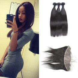 Wholesale Silk Lace Frontal Virgin - Indian Virgin Hair With Silk Base Lace Frontal 4pcs Lot Unprocessed Straight Human Hair Extensions 3 Bundles With Frontal