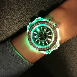 Wholesale Casual Form - 2017 Fashion Tide LED Light Cool Tide the Female Form Student Casual Sports Personality Jelly Luminous Watches Clock Hours saat