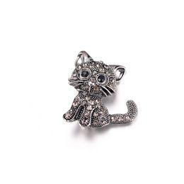 Pin up accessories on-line-OPPOHERE Nova Moda Cristal Preto Bonito Gato Broches Pinos Mulheres Pin Up Broche Acessórios