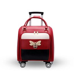 "suitcase spinner Coupons - TRAVEL TALE 2018 leather suitcase women carry on travel case luggage 16"" cabin bag"