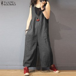 4bc94f558d5bd ZANZEA Jumpsuits Women 2018 Fashion V Neck Sleeveless Striped Romper Female  Casual Wide Leg Overalls Lady Plus Size Work Pants. Supplier  worsted