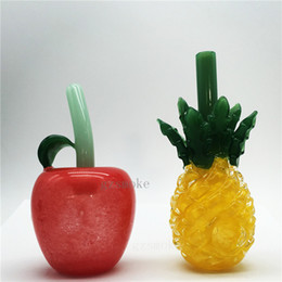 Pipas divertidas online-Tubos de agua de fumar de piña linda tubo de manzana Heady tubo de vidrio de mano cuchara de pyrex colorido bubbler cera divertida accesorios somking regalo rojo