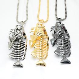 gold fisch knochen schmuck Rabatt Neue Heiße Verkauf Fischgräte Angelhaken Anhänger Halsketten Punk Schwarz Gold Silber Farbe Kette Persönlichkeit Männer Schmuck Weihnachtsgeschenk