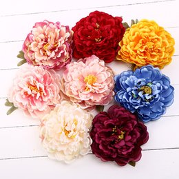 Wholesale silk flower corsage brooches - Silk Artificial 14cm Peony Head Flower Wedding Corsage Bridal Decoration Headdress Bouquet Accessories Hair Clip Headwear Pins Brooches