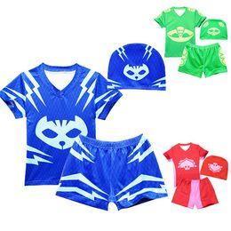Wholesale Wholesale Board Shorts Clothing - Boys Swimsuit Set 3pcs Tops and Shorts with Swim Hat Baby Boys Board Shorts Baby Kids Clothing Boys Swimwear Summer Children Beachwear