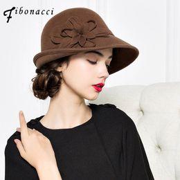 2019 cappelli sentiti Fibonacci Autumn Winter Trilby Hat Fedora femminile  Felt Dome Floral Bowler Donna Fedora 3b15a591cfcf