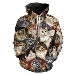 Wholesale Cat Top Hat - MWBAY 3D Cat Animal Sweatshirts Men Women Hoodies with Hat Print Autumn Winter Loose Thin Hooded Hoody Tops Couple