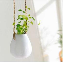 vasi da giardino vasi Sconti Home Garden Ceramica Hanging Fioriera Vasi di fiori Vaso di piante verdi Twine Piccola bottiglia di infusione Borsa Invia corda di canapa