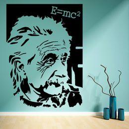 2019 retratos da arte famosa Famoso Retrato Alber Einstein E = mc2 Adesivo de Parede de Vinil Arte Etiqueta para sala de estar decoração de parede em casa retratos da arte famosa barato