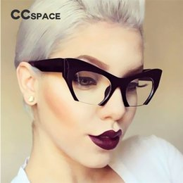 Wholesale Frames Computer - CCSPACE Ladies Small Half Frame Cat Eye Glasses Frames Women Brand Designer Optical Fashion Eyewear Computer Glasses 45292