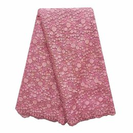 Wholesale net swiss voile lace - WorthSJLH 2018 African French Lace Fabric Pink Swiss Voile Lace In Switzerland Tulle Net Wedding Lace Fabric With Beads And Stones