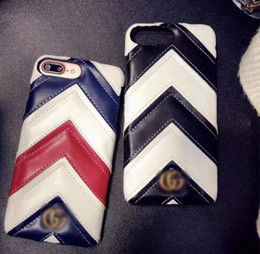 Wholesale iphone stripes - 2018 new luxury brand leather stripe phone case for iphone 7 7plus 8 8plus 6Splus hard back cover for iphone X goophone X