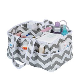 Wholesale Chevron Baby Shower - Baby Diaper Caddy Organizer Nursery Tote Bag Portable Diaper Storage baby shower gift Gray Chevron and plaid pattern