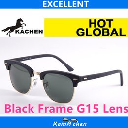 Wholesale Frame Sizes Glasses - KaChen #1 51mm size Black Frame G15 Lens UV400 protection metal frame AAA 1:1 quality sunglasses glasses men women