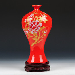 Wholesale Ceramic Bottle Vase - modern fashion home decoration crafts decoration beauty bottle Ceramics red peony vase